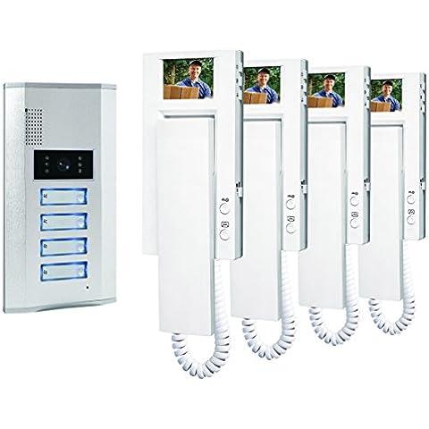 Smartwares VD64 - Sistema de video portero para 4 apartamentos, 4 alámbricos, con 2 vías de comunicación de audio