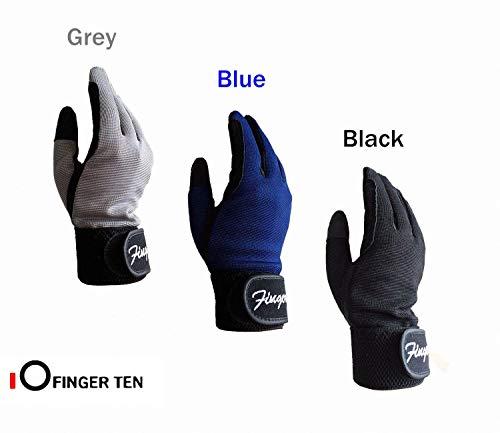 FINGER TEN Reithandschuhe Kinder Jungen Mädchen Jugend Reiten Reiter Reitsport Handschuhe Grau Schwarz Blau Comfortable Grip Paar Für Kinder Alter 5-14 (Schwarz, XL(Age12-14))