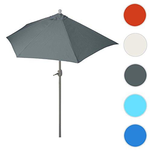 Mendler Sonnenschirm halbrund Parla, Halbschirm Balkonschirm, UV 50+ Polyester/Alu 3kg ~ 300cm Anthrazit Ohne Ständer