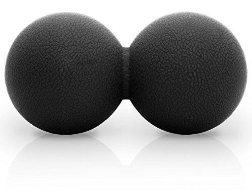 Peanut Duo Massageball- Doppelter Lacrosse Ball - Perfekt für Triggerpunkt Therapie, myofaszialer Release, deep Tissue Massage - Entworfen um Stress und Entspannen verspannte Muskeln (SCHWARZ) - Die Deep-tissue-massage