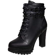 Logobeing Zapatos de Tacón Alto Botas Mujer Invierno Martain Boot Zapatos  con Cordones de Cuero Botines dc86a598e04b2