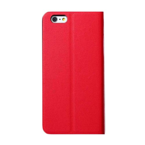 "D9Q Slim PU Leder Flip Wallet Card Slot Halterung Stand Case Fall für iPhone 6 Plus 5,5"" !!Rot"