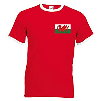 Mens customisable Wales Cymru football T-shirt, Red / White, Small