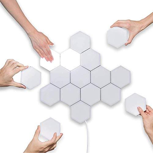 Wandleuchte Waben Form LED- Panels Wandlichter Leseleuchte Touch- Sensitive Lampen Leselampe Wandlampe DIY Kunst Wandbeleuchtung mit 1× 1,2 m Kabel stecker, 1- Flammig =3W Wabe