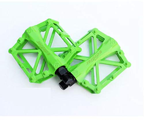 LLZYL Mountainbike Pedal, 3 Bearing Composite 9/16 Fahrradpedal Hochfeste Rutschfeste Oberfläche für Straßen BMX Mountainbike Fahrrad Flachfahrrad, Aluminiumlegierung,Green