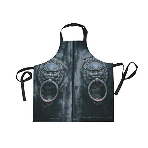 Ahomy Verstellbare Latzschürze mit 2 Taschen, Vintage-Türklopfer für Damen und Herren, für BBQ, Küche, Kochen, Basteln, Backen