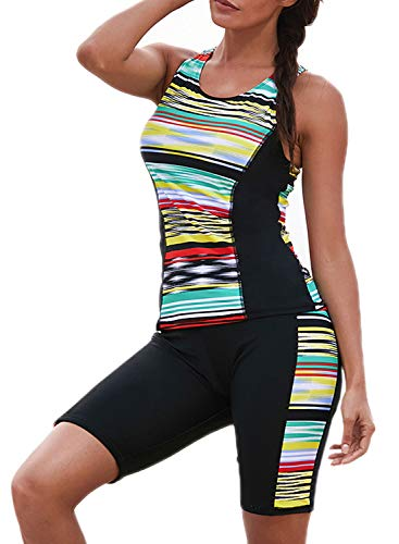 ZKESS Damen Badehose mit Farbblockierung, Capri-Hose, Tankini, Tops, 2 Stück, Badeanzug, Surf-Bademode, S-XXXL Übergröße - schwarz - Medium (38-40) -