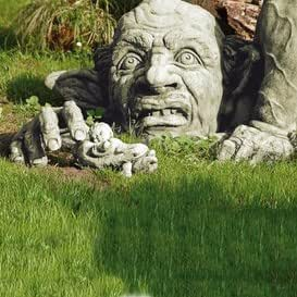 Gartentraum Lustiger Garten Troll Steinfigur - Griphook, Antikgrau