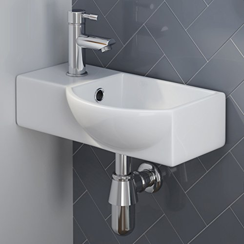 Lovely Modern Small Gloss White Wall Hung Ceramic Wash Basin Sink Bowl Amazing Ideas