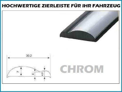 Preisvergleich Produktbild 30mm x 5 METER ZIERLEISTE Chrom-Schwarz selbstklebend Universal AUTO TUNING Wohnungsdekoraton Eckleiste Wanddekor Autotuning