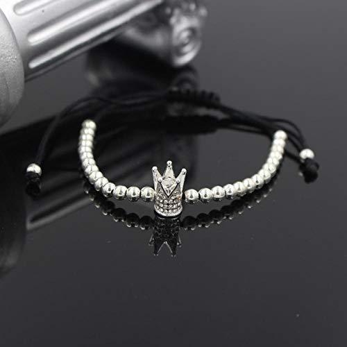 Imagen de magssdy pulsera pulsera del encanto de la corona del emperador del oro del color de los hombres de moda pulsera de macramé con perlas de liquen
