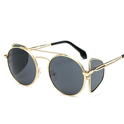 JUNHONGZHANG Kreative Persönlichkeit Brille Runde Sonnenbrille Mode Avantgarde Gelee Sonnenbrillen Runde Gesicht Flip-Objektive, C2 Gold Frame Schwarzen Film