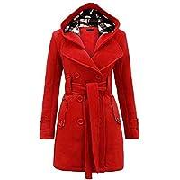 TJOIREJ Abrigos De Mujer Abrigos De Abrigo Slim Winter Warm Abrigos De Lana Negra, Rojo, M