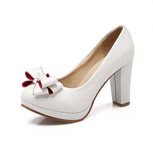 the latest 03399 1b23a VogueZone009 Femme Pu Cuir à Talon Haut Rond Couleur Unie Tire Chaussures  Légeres Blanc