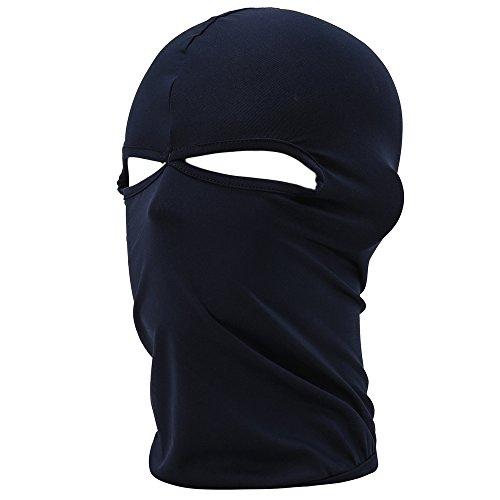 UTOVME Multifunktionen Gesichtsmaske aus Lycra 2 Loecher Sport Balaclava Einfarbige Maske Warm Fahrrad Ski Snowboard Dunkelblau -