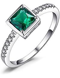Jewelrypalace 0.55ct Luxus Geschenk Quadratische Prinzessin Damen Grün Simulierte Nano Russisch Smaragd Erstellt Saphir Ringe 925 Sterling Silber Luxus Geschenk