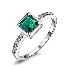 Idea Regalo - JewelryPalace Quadrata Sintetico Rubino Promessa Blu Zaffiro Verde Nano Russo Smeraldo Solitario Anello 925 Sterling Argento