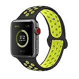 Tervoka Compatible with Apple Watch Correa 44mm 42mm, Banda Pulsera Brazalete de Repuesto de Silicona Suave Deportivo para iWatch Series 4/3/2/1, Tamaño S/M, Black/Volt
