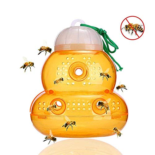 H-ONG Wasp Hornet Trap, Bee Trap Catcher, Hanging Trap Bait to Attract Wasps, Yellow Jackets, Hornets and Bees, Outdoor Wasp Killer Trap for Garden -