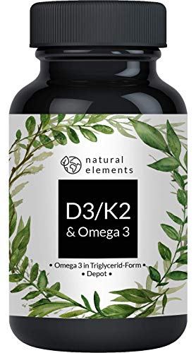 Vitamin D3 + K2 + Omega 3 - Premium: 99,7+{caceaaf5d25bd80e97b3f688206040629d970d9d5bc78af7200e7b3c79cdfc54} All-Trans K2, Premium Omega 3 in Triglycerid Form, Depot-Kapseln - Laborgeprüft und hergestellt in Deutschland