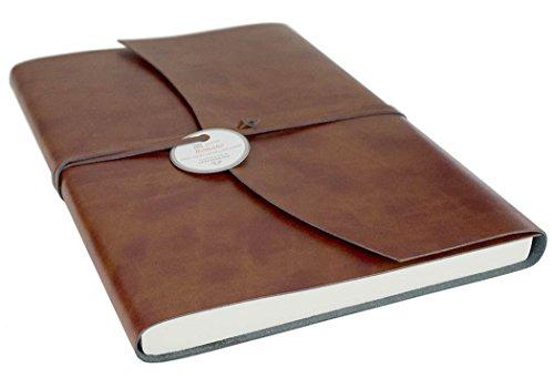 Brown Italienischen Leder Handgefertigt (Romano Handgemachtes Italienisches Notizbuch aus recyceltem Leder, Größe A4 (23cm x 30cm))