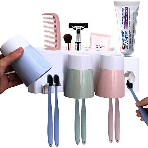 MEIJUBOL Zahnbürstenhalter 3 Tassen Speicher Set Wand Montiert Kein Bohrer Oder Nagel mit Automatische Zahnpastaspender für Familie Kinder Badezimmer