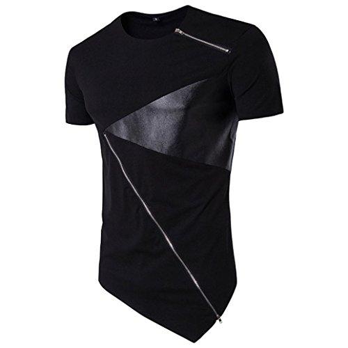 Shirts Herren, GJKK Herren Asymmetrisches Patchwork T-Shirt Basic O-Neck Tee Baumwolle Kurzarm Hedging Slim Fit Bluse (Schwarz, L) (Tee Print Boot)
