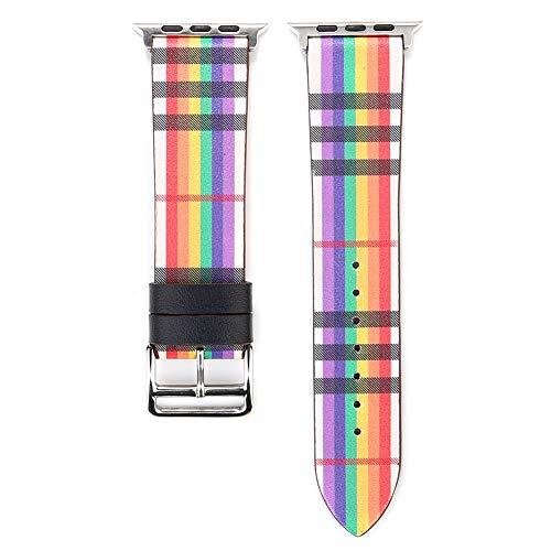 HACKK Uhrenarmbänder 38/40 / 42 / 44mm Mode Gitter Textur Leder Uhrenarmband Ersatzband Kompatibel...
