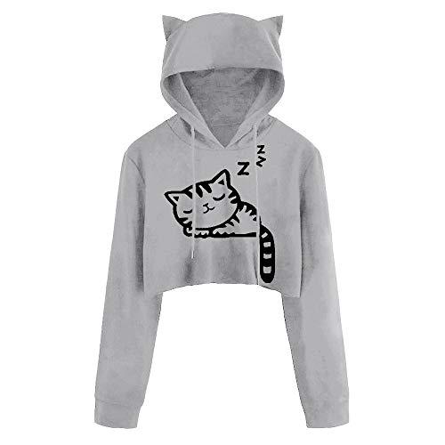 Xmiral Hoodie Pullover Damen Kapuzenpullover Casual Langarm Cat Kitty Print Kurze Bluse Top ()