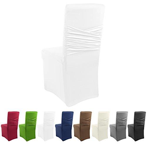 Gräfenstayn Universal-Stuhlhusse Victoria - mit eingearbeiteter Stuhlschleife - in verschiedenen Farben für runde und eckige Stuhllehnen (Weiß)