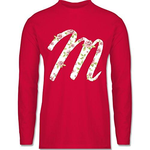 Shirtracer Anfangsbuchstaben - M Rosen - Herren Langarmshirt Rot