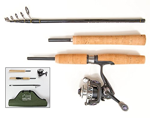 Nano Carbon Telescopic Fishing Rod, Reel and Case. Stiff action, light fishing Spin/Fly rod. 6 ft rod, steel micro reel (Fly reel not included). 2 YEAR GUARANTEE