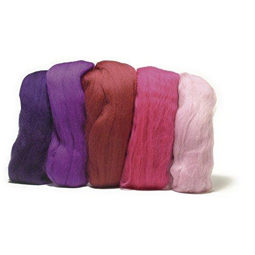 RAYHER HOBBY 5365000 Filzwolle, Merinowolle, Kammzug, fein, 19 mic, 5 Farben je 10g, Pink-Töne, 100% Schafschurwolle zum Filzen, 50g