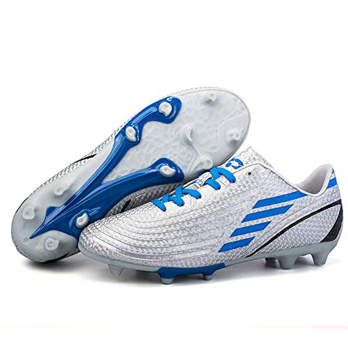 Turf Cleats Soccer Athletic Football Outdoor&Indoor Sports Shoes for Men YT22017-Silver-45