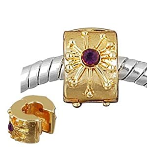 Andante-Stones 14K Gold Bead Clip Stopper mit 2 Zirkonia (Modena) Element Kugel für European Beads + Organzasäckchen