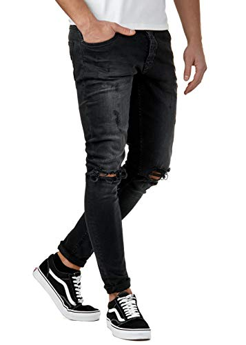 EightyFive Herren Destroyed Jeans Slim Fit Skinny Stretch Denim Schwarz EF1512, Hosengröße:W32 L34, Farbe:Schwarz 3