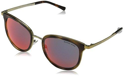 Michael kors adrianna i 11016p 54, occhiali da sole donna, oro (dark tortoise/gold-tone/multiredmirror)
