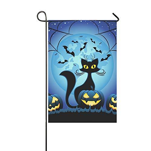ive Outdoor Double Sided Katze Halloween Kürbisse Gegen Vollmond Garten Flagge, Haus Hof Flagge, Garten Hof Dekorationen, saisonale Willkommen Outdoor Flagge ()