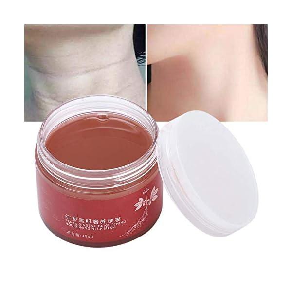 Máscara de cuello de ginseng rojo reafirmante, hidratante aligerar fina, líneas de crema para el esencias del cuello, blanqueamiento de la piel, incluso tono de la piel, antiarrugas antiedad.