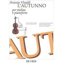 RICORDI VIVALDI A. - AUTUNNO DA LE QUATTRO STAGIONI - VIOLON ET PIANO Partition classique Cordes Violon