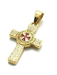VAWAA Unisex 316L Acero Inoxidable Plata más Nuevo Cruz Caballeros templarios clásico Oro Colgante de Oro