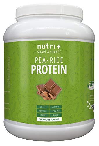 Nutri-Plus Erbsen-Reis-Protein - Veganes Eiweißpulver ohne Soja, Gluten, Laktose und Aspartam - Schokolade 1kg - Hypoallergen - Vegan