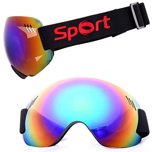 Easy Go Shopping Bergsteigen-Schneebrille-Ski-Anti-Nebel und Sand-Beweis große kugelförmige Gläser für Männer, Sonnenbrillen und Flacher Spiegel (Farbe : Green Diaphragm)