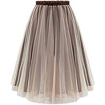 Jumojufol La Mujer Es Elegante Malla Elastica De Alta Cintura Layered Tutu  Tul Falda Midi b631fb1c7056