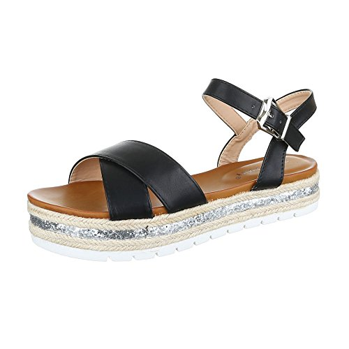 Komfortsandalen Damenschuhe Römersandalen Riemchen Schnalle Ital-Design Sandalen / Sandaletten Schwarz