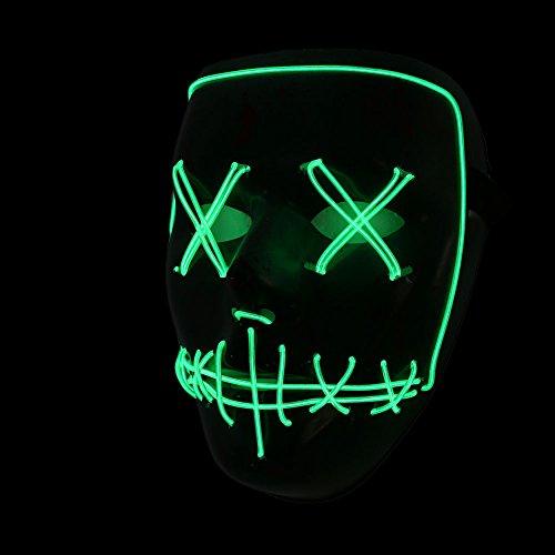 Bolange maschera di terrore confortevole modalità remota illuminazione colore-> verde fluorescente