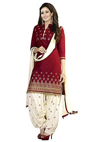 S,B Creation Women\'s Cotton Dress Material (banno_Marron)