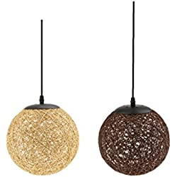 Sharplace 3/2 pcs Globo de Techo 20cm - 2pcs Café+Flaxen