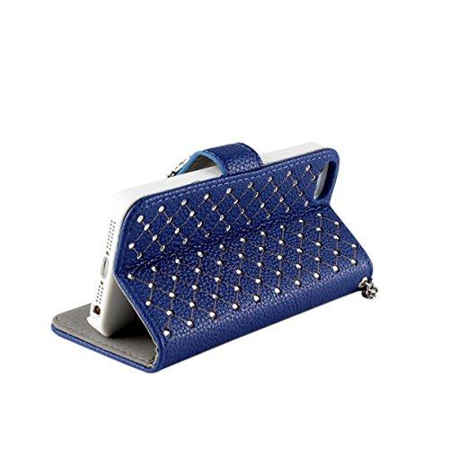 iPhone 5 5S Hülle,COOLKE [schwarz] Flip Cove case Luxury Beautiful Diamond Bling Wallet für Apple iPhone 5 5S Schutzhülle Hülle Schutzschale Schale Handytasche Tasche Etui Case blau
