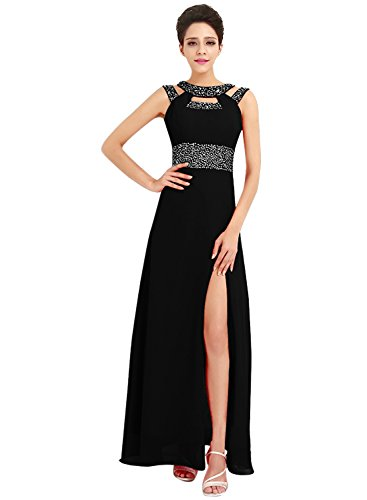 Azbro Women's Rhinestone High Slit Cut-out Front Prom Dress Black